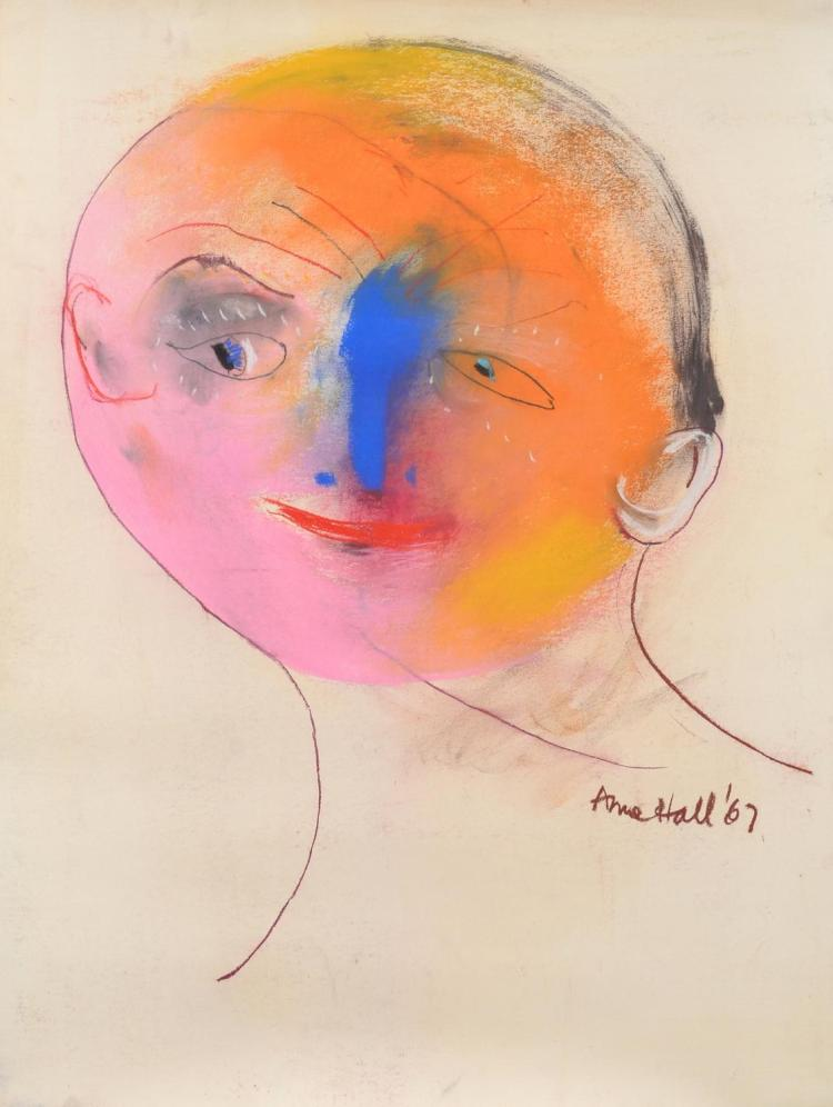 ANNE HALL (born 1945) Portrait with Yellow and Pink Face 1967 pastel on paper
