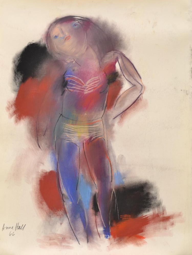 ANNE HALL (born 1945) Figure in Underwear 1966  pastel on paper
