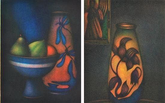 LAURENT SCHKOLNYK (FRENCH, BORN 1953) Pair of Still Life Works:i) Vase Galle et Geisha23.5 x 15.5cmii) Grande Coye Blue19.5 x 15.5cm...
