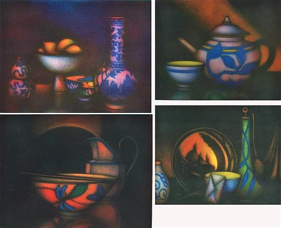 LAURENT SCHKOLNYK (FRENCH, BORN 1953) Group of Four Still Life Works:i) Lumiere D'Orient18 x 13.5cmii) Parfum De Venise16 x 19.5cmii..