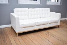 A REPLICA FLORENCE KNOLL THREE SEAT SOFA IN PREMIUM WHITE VINYL
