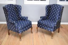 A PAIR OF QUEEN ANNE STYLE WINGBACK ARMCHAIRS