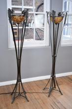 A PAIR OF DECORATIVE FRENCH WROUGHT IRON  STANDARD LAMPS