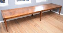 A LARGE AND IMPRESSIVE PINE REFECTORY TABLE - (100cm w x 400cm l x 78cm h)
