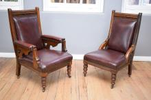 A PAIR OF LATE VICTORIAN ARMCHAIRS