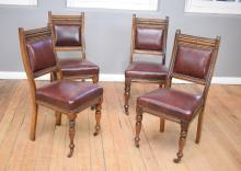 A SET OF SIX LATE VICTORIAN DINING CHAIRS