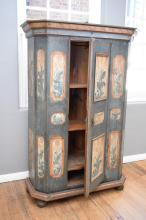 AN ANTIQUE GERMAN PAINTED SINGLE DOOR CUPBOARD w/ SHELVES (118cm w x 54cm l x 193cm h)