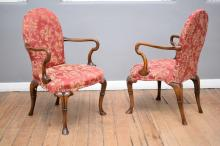 A PAIR OF QUEEN ANNE STYLE  SWAN CHAIRS
