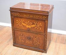 A DUTCH 19TH CENTURY MARQUETRY INLAID CABINET - some structure faults (82cm w x 51cm l x 95cm h)