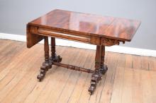 A VICTORIAN MAHOGANY STRETCHER-BASED DROPSIDE TABLE (128cm w x 62cm l x 106cm h)