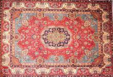 A PERSIAN ROYAL TABRIZ CARPET, CIRCA 1980''S; VERY COLLECTABLE AND HEAD WEARING 100% WOOL. ORIGIN- IRAN. 370 X 255CM. RRP $9800