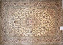 A SUPERFINE PERSIAN KASHAN DECORATIVE CREAM COLOURED SHAHABASI RUG. FLORAL MOTIFS, NEW PIECE WITH DENSE WOOLLEN PILE. ORIGIN- IRAN....