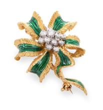 AN ENAMEL, DIAMOND AND GOLD BROOCH BY KUTCHINSKY