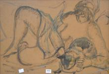 PHYL WATERHOUSE, RECLINING NUDE, INK AND PASTEL, 35 X 52CM