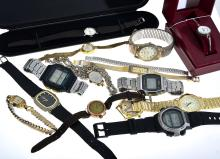A COLLECTION OF WATCHES INCLUDING SEIKO DIDGITAL.