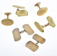 THREE PAIRS OF ENGRAVED CUFFLINKS INCLUDING 9CT GOLD ON SILVER.