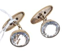 A PAIR OF CIRCULAR ROCK CRYSTAL CUFFLINKS WITH SILVER GILT FITTINGS AND RUSSIAN HALLMARKS.