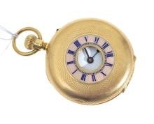 A LADIES GOLD AND ENAMEL HALF HUNTER POCKET WATCH, CROWN WIND WITH ROMAN NUMERLAS, TO AN 18CT GOLD CASE, NO GLASS.