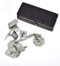 THREE PAIRS OF STERLING SILVER CUFFLINKS AND A PAIR OF GOLD AND ONYX SHIRT STUDS.