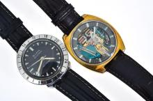 TWO BULOVA ACCUTRON WRISTWATCHES INCLUDING A SPACE-VIEW WITH GOLD PLATED CASE; AND AN ASTRONAUT WITH STAINLESS STEEL CASE, BOTH IN N...