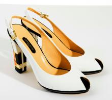 A PAIR OF HEELED SHOES BY SANDRO VICARI