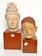A TANG STYLE BUST AND CHINESE 17TH CENTURY STYLE GUANYIN HEAD