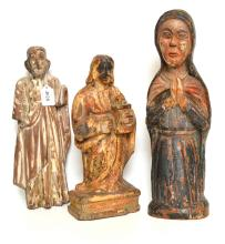 A GROUP OF THREE COLONIAL SANTOS FIGURES, 18TH/19TH CENTURY