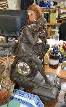 A SPELTER FIGURAL MANTEL CLOCK, WITH THE FIGURE OF A KNIGHT RESTING