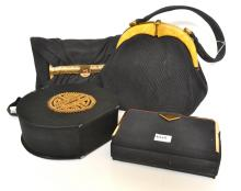 FOUR 1930''S/40''S LADIES CLUTCHES MOSTLY SATIN AND ONE CORDED SILK WITH BAKELITE AND CLASP