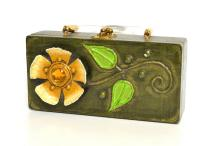 A LATE 1960''S ENID COLLINS BOX BAG WITH LUCITE CLASP AND PAPIER MACHE DETAILING
