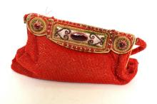 AN ART DECO ENAMELLED AND BEADED EVENING BAG WITH ORIGINAL SATIN LINING IN PERFECT CONDITION