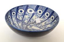 A JAPANESE BLUE & WHITE BOWL WITH MOUSE THEME