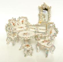 COLLECTION OF MEISSEN MINIATURES WITH APPLIED FLORAL WORK, HANDPAINTED MOTIFS (ONE A/F, 7 PIECES)