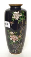 A MEIJI SILVER WIRED CLOISONNE VASE WITH CHRYSANTHEMUMS AND SWALLOW MOTIF