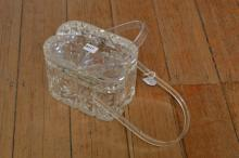 A 1950''S LLEWELLYN INC. LUCITE BAG IN CLEAR TONES WITH GEOMETRIC DESIGNS