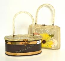 TWO LUCITE BAGS, C.1950''S, ONE WITH PRESSED FLOWERS AND APPLIED BEAD WORK