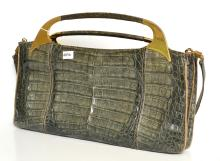 A 1960''S GUIDO BORELLI GOLD HANDLED CROCODILE HANDBAG; MADE IN ITALY, LEATHER LINING