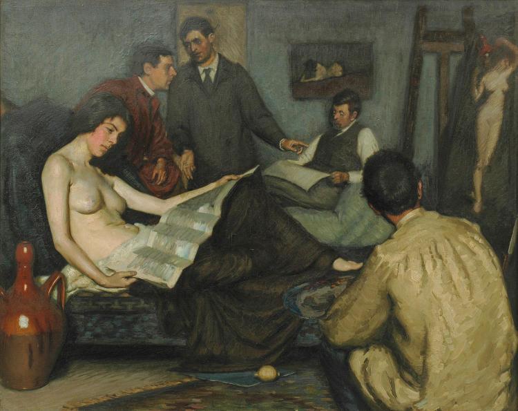 Australian School (possibly George Coates) (1869-1930) The Artist's Studio oil on canvas