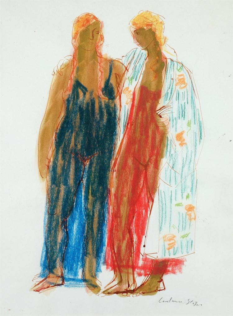 Constance Stokes (1906-1991) Two Figures pastel and wash