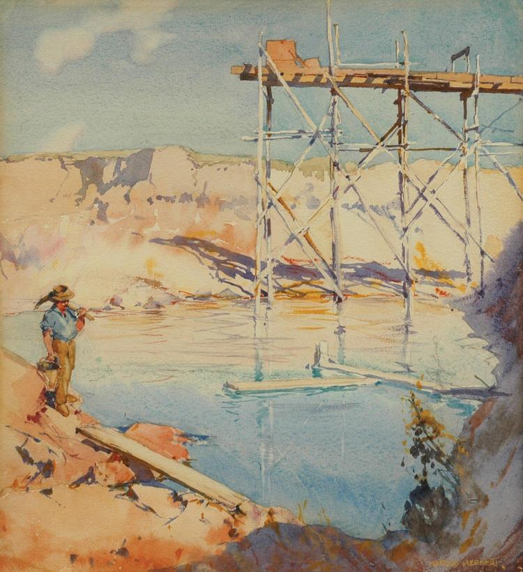 Harold Herbert (1892-1945) The Old Sluicing Works, Buninyong near Ballarat circa 1916 watercolour