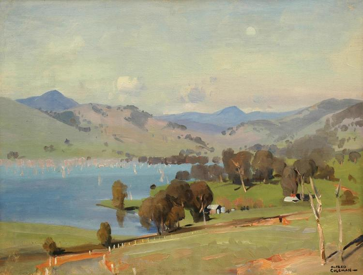 Alfred Coleman (1890-1952) Farm by the Lake oil on canvasboard