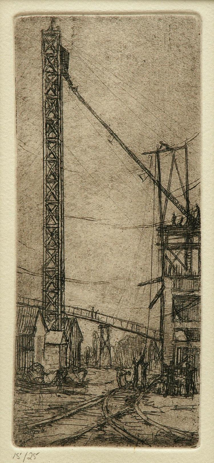 Jessie Traill (1881-1967) Untitled (View of a Mine Entrance) circa 1924 etching 15/25