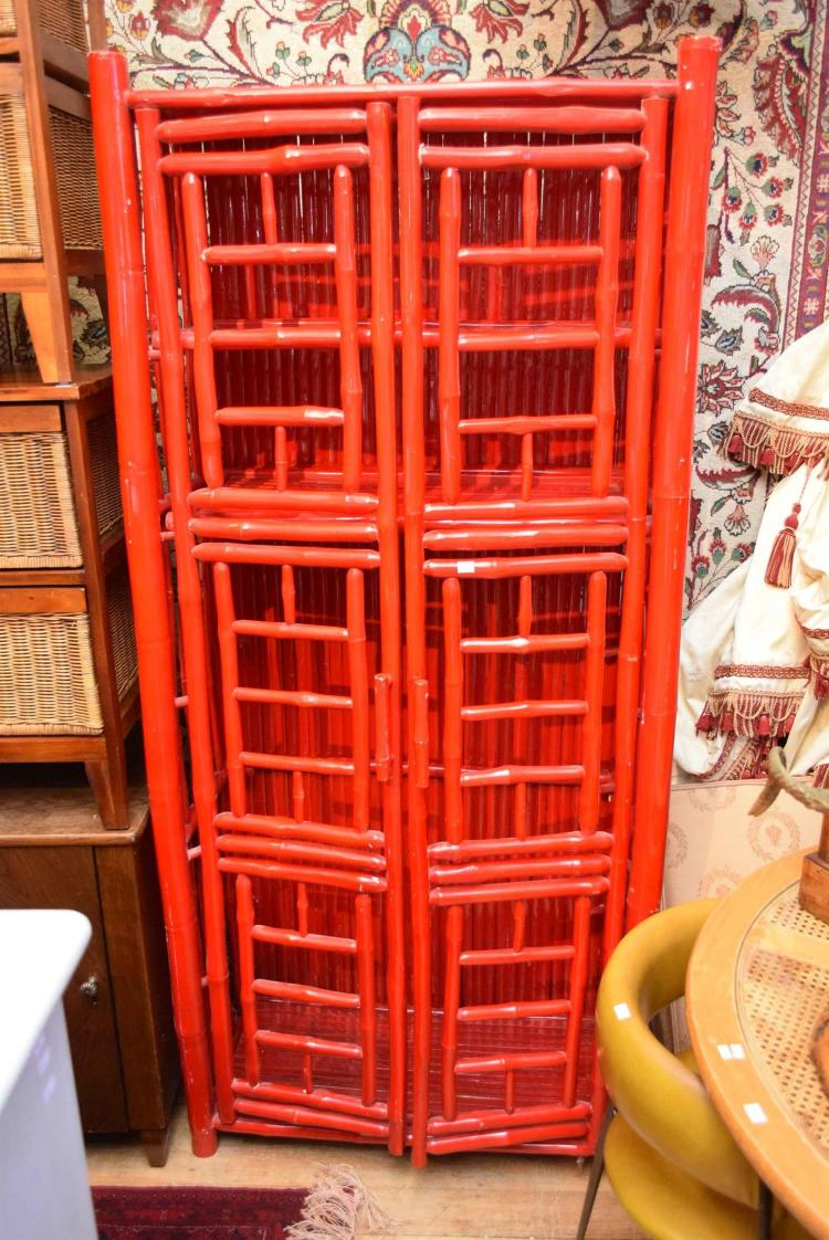 A red painted bamboo cabinet for Bamboo kitchen cabinets australia