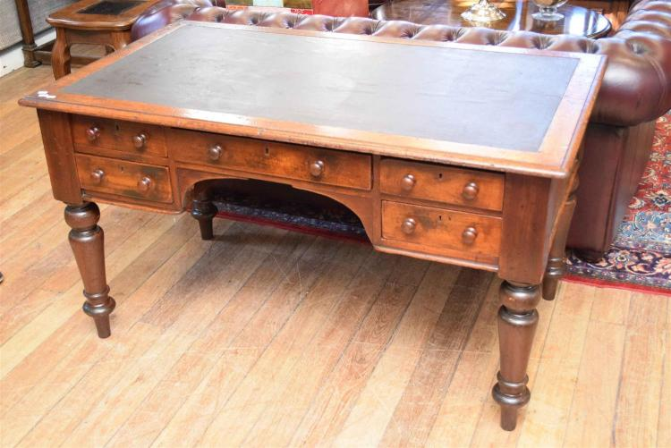 A Victorian Cedar Leather Inset Five Drawer Desk By W H Roc