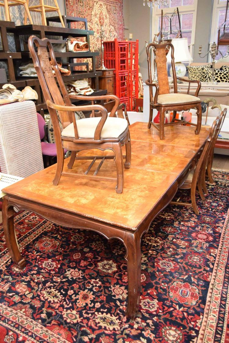 A large extendable oriental style dining table with six matc for Oriental dining table
