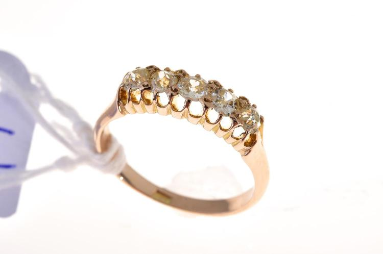 A five stone old cut diamond ring stamped 18ct gold for Diamond stamp on jewelry