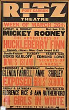 A 1939 'RITZ THEATRE, PORT CARBON' CINEMA POSTER ADVERTISING MICKEY ROONEY IN THE ADVENTURES OF HUCKLEBERRY FINN, BORIS KARLOFF IN D.