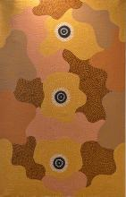 WILLIAM SANDY, UNTITLED( ABORIGINAL STORY), ACRYLIC ON CANVAS LAID ON CANVAS, 120 X 77CM