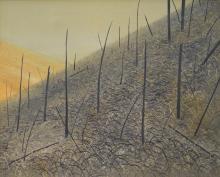 BASIL HADLEY, THE DARK SIDE 1972, OIL ON CANVAS, 90 X 110CM