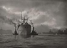 A. AUBREY BODINE (AMERICAN, 1906-1970) Anchored Ship in the Bay - Baltimore Harbour, circa 1940 silver gelatin print